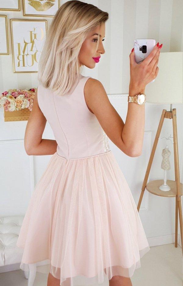 Beżowa sukienka z tiulem 2179-21 tył