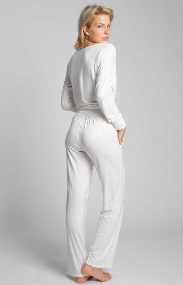 Spodnie do spania z szerokimi nogawkami ecru LA028 tył