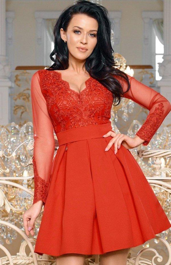 Bicotone 2166-02 sukienka rozkloszowana czerwona