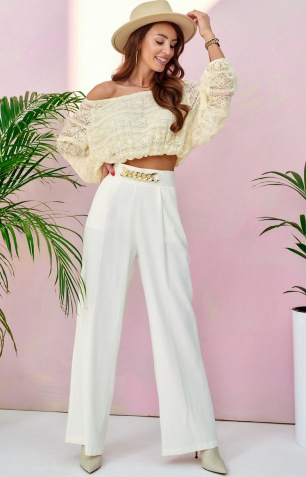 Szerokie spodnie plazzo ecru 0011