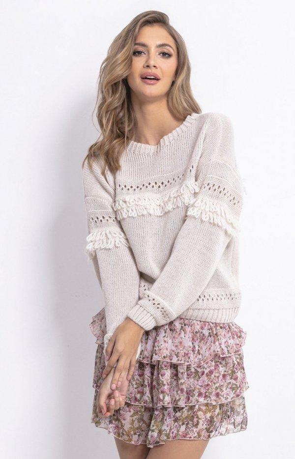 Sweter oversize z frędzlami beżowy F745-1