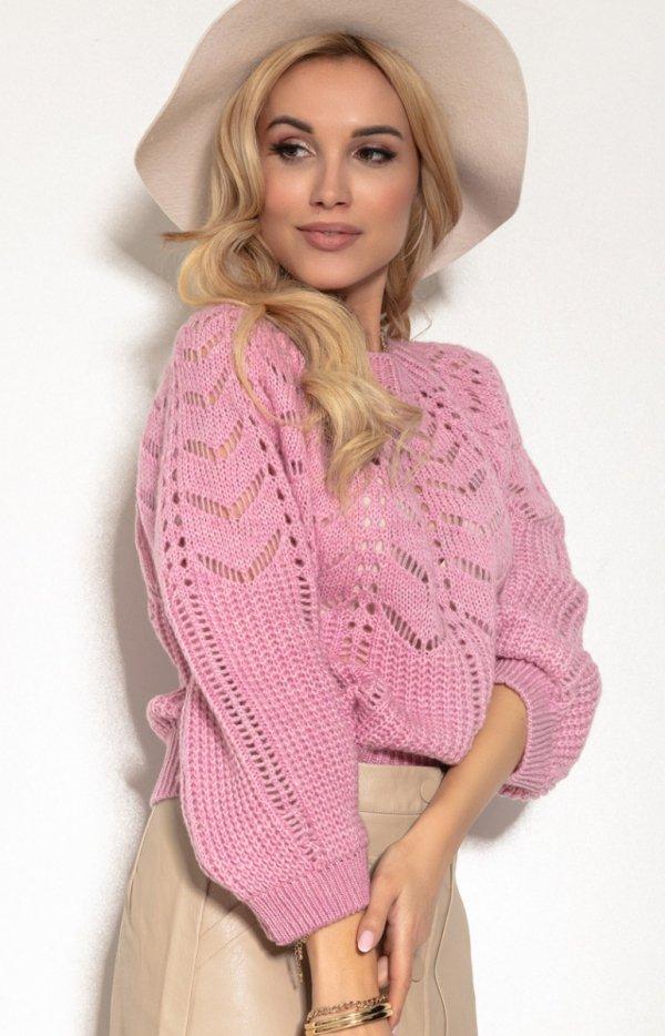 Ażurowy sweter damski róż F1156