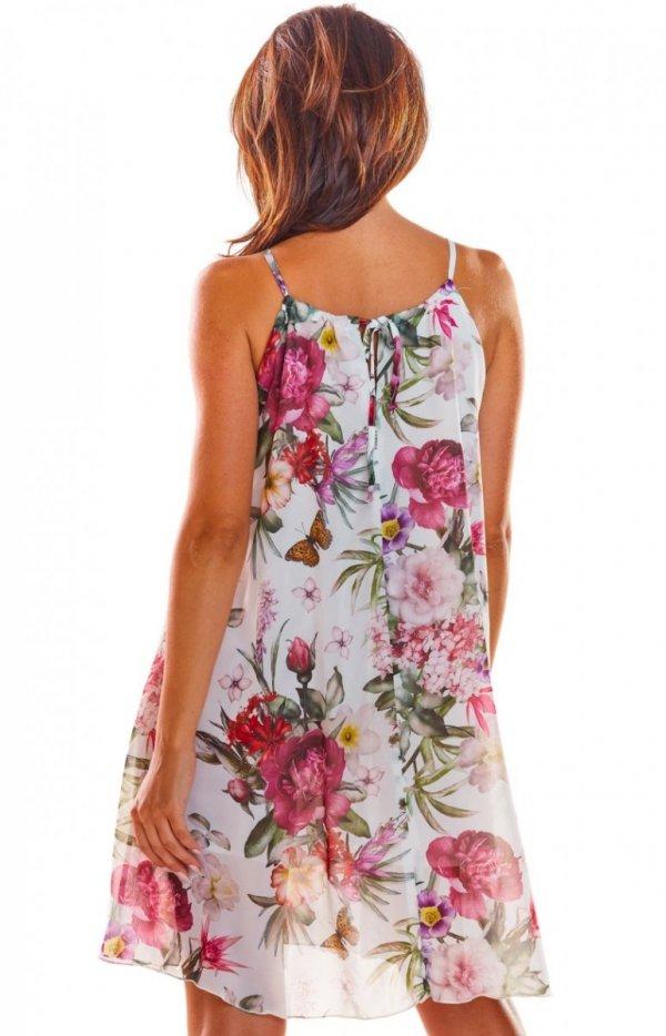 Luźna sukienka w kwiaty biała A289  tył