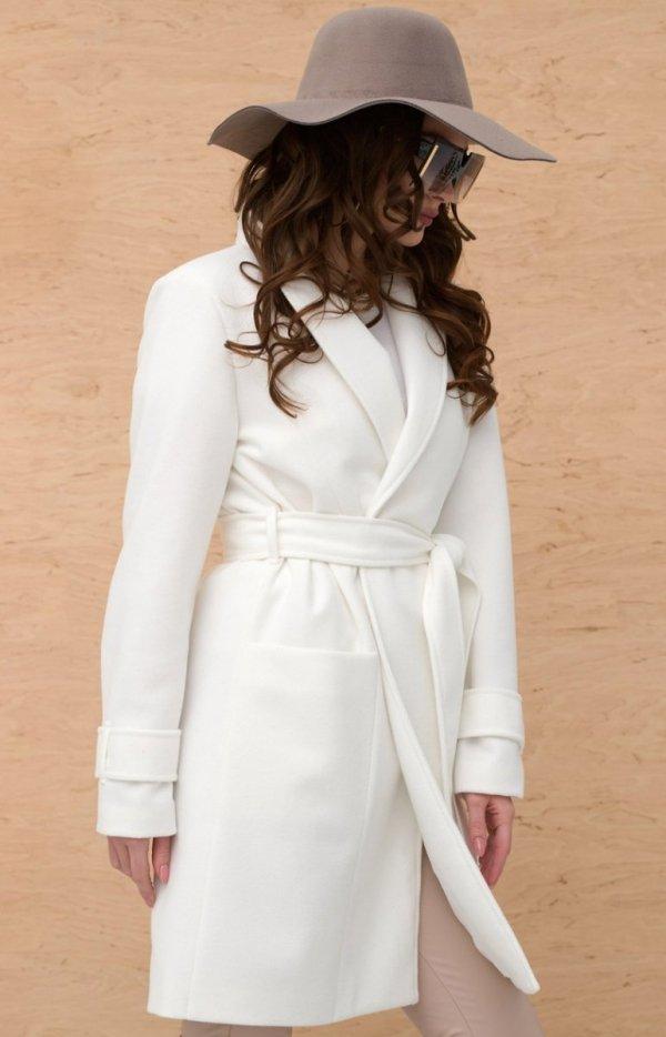 Wiązany płaszcz damski ecru 0019-1