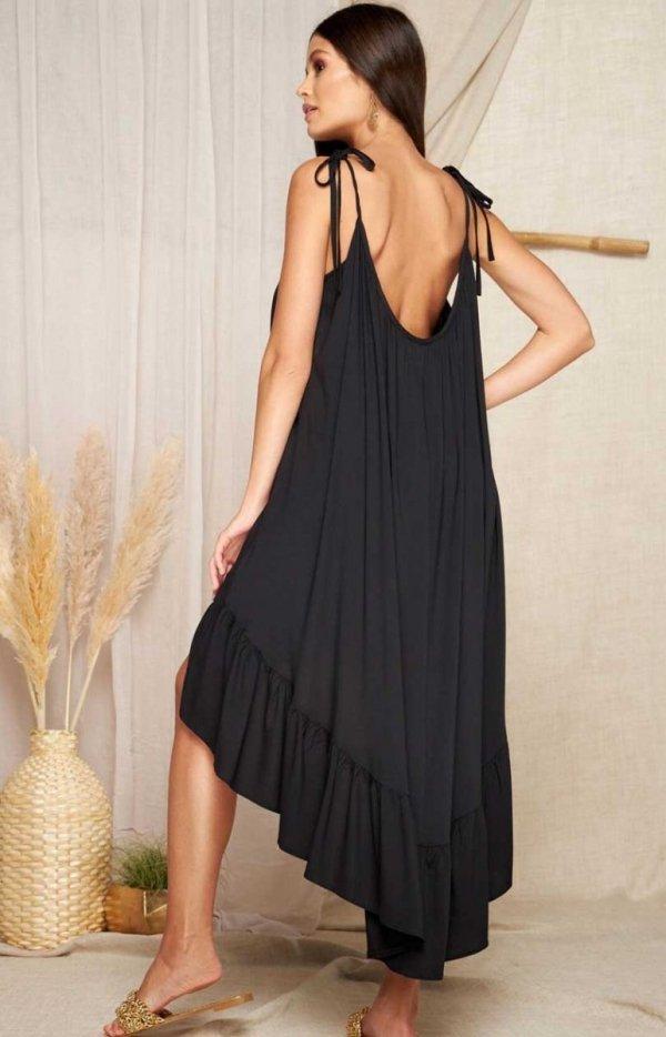 Asymetryczna letnia sukienka L368A tył