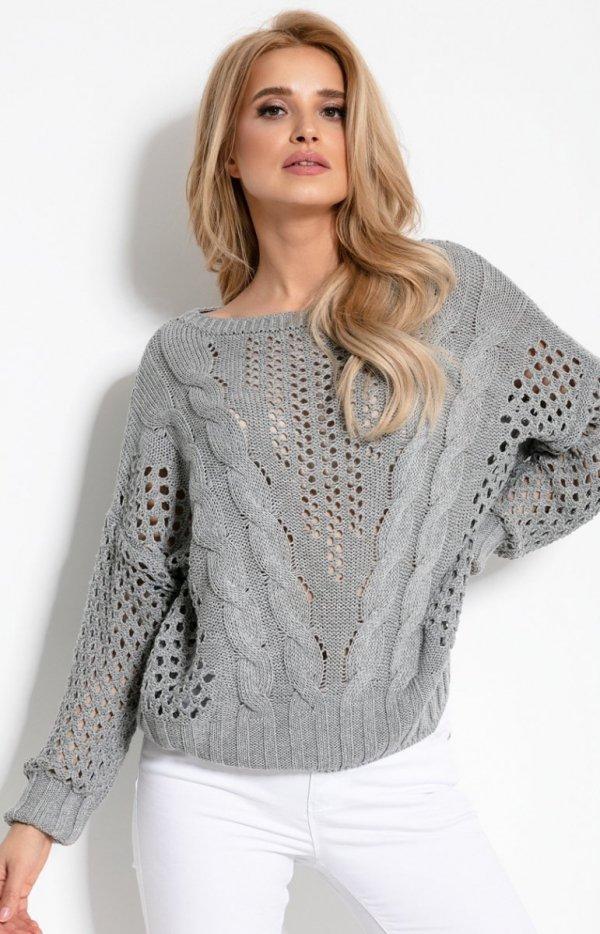 Ażurowy sweterek szary F893-1