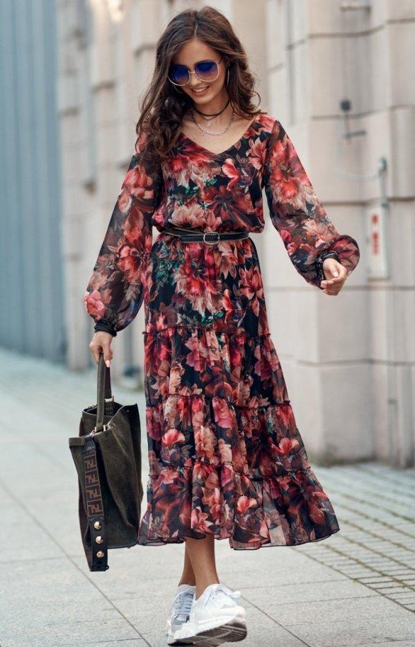 Elegancka sukienka midi w kolorowe kwiaty 0304/R79-1