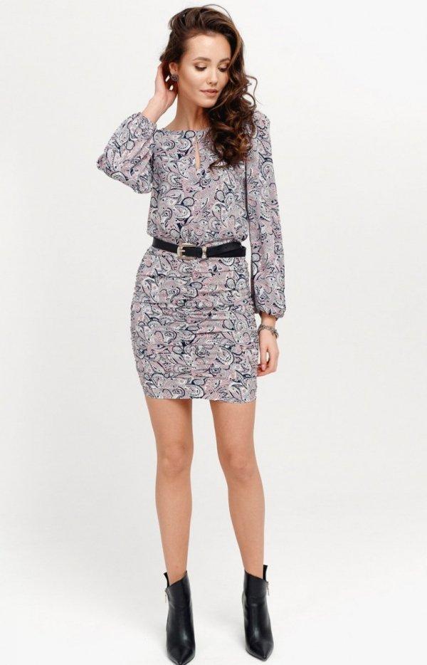 Ołówkowa sukienka z bufiastymi rękawami multi 0280/S28-1