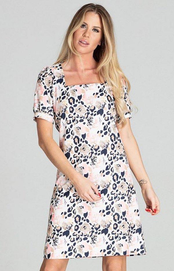Wzorzysta sukienka M704/112