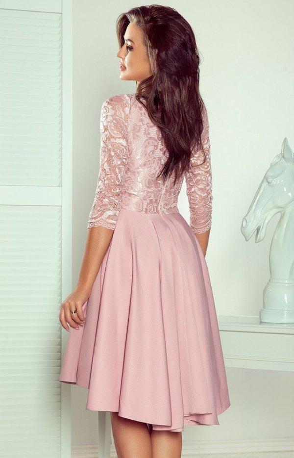 Pudrowa sukienka wieczorowa Numoco 210-11 tył