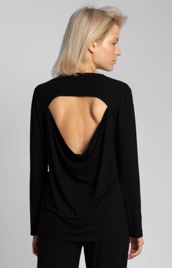 Wiskozowa czarna bluzka z rozcięciem na plecach LA027 tył