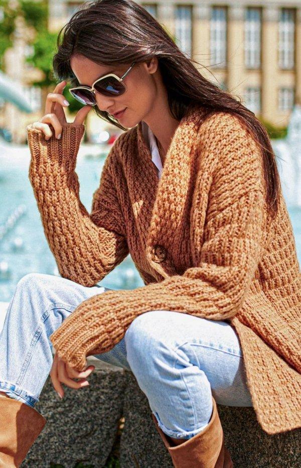 Ciepły sweter zapinany na guzik S66-1