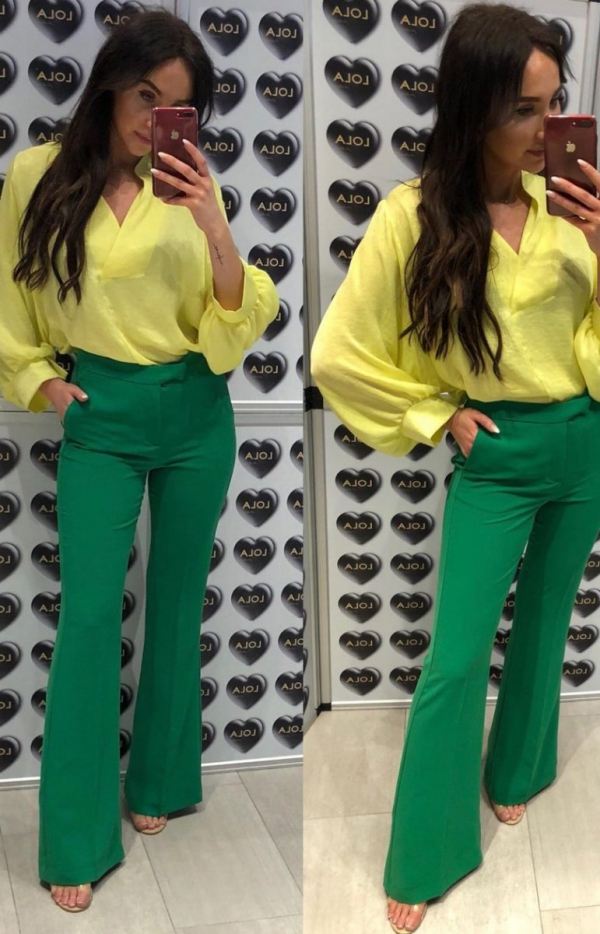 Rozszerzane spodnie typu dzwony zielone