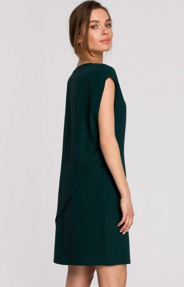 Elegancka sukienka mini warstwowa zielona S262 tył
