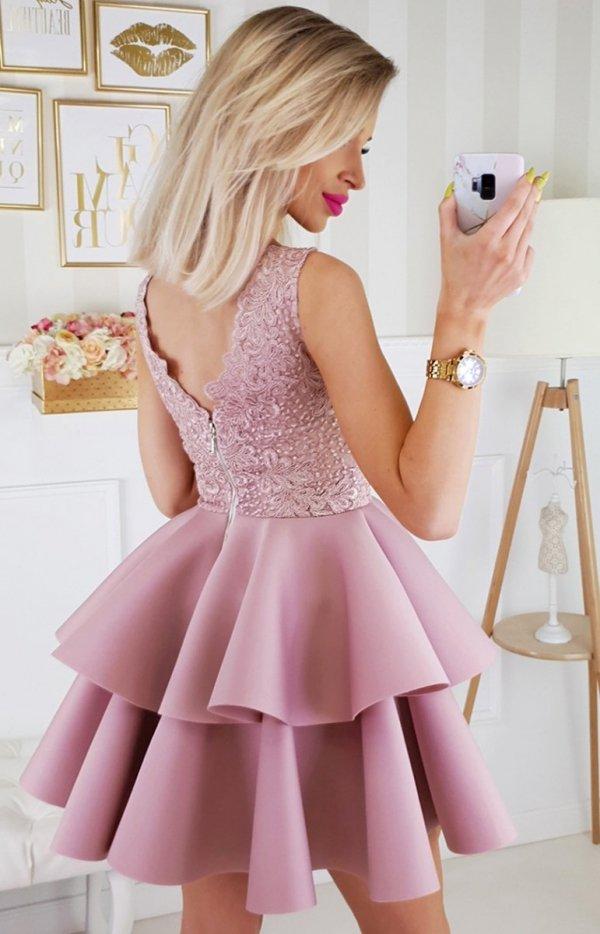 Piankowa sukienka z koronką 2175-20 tył