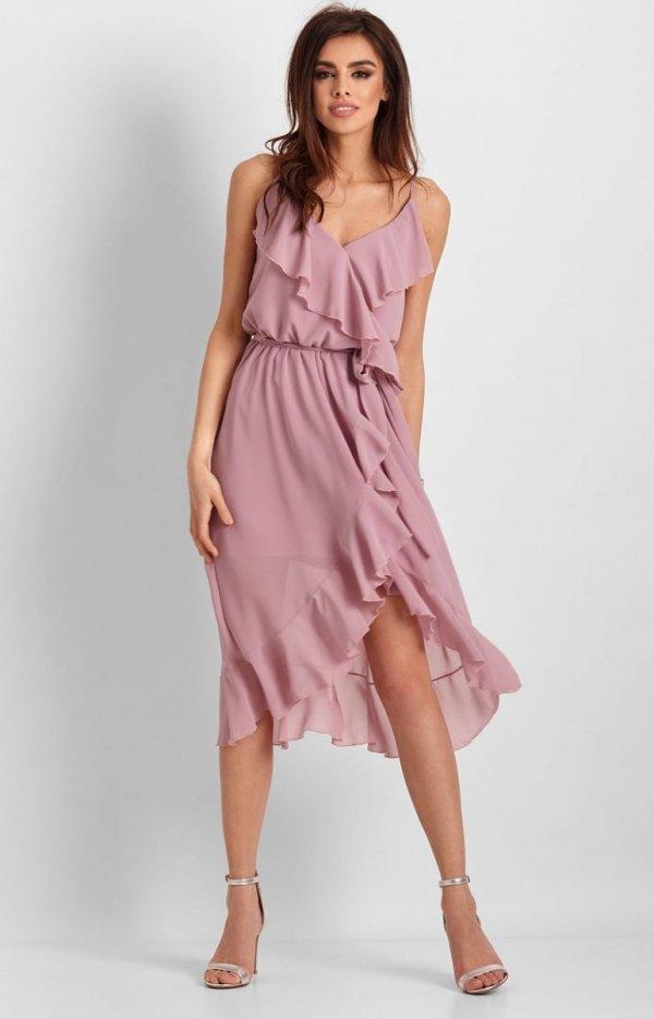 Letnia sukienka midi rożowa Chantal-1