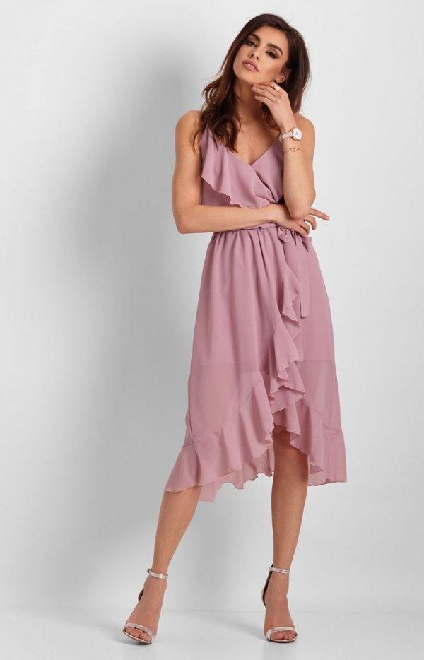 Letnia sukienka midi rożowa Chantal-2