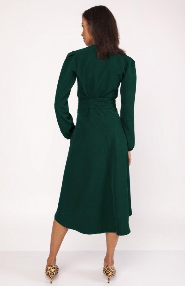 Asymetryczna, kopertowa sukienka zielona SUK160 tył