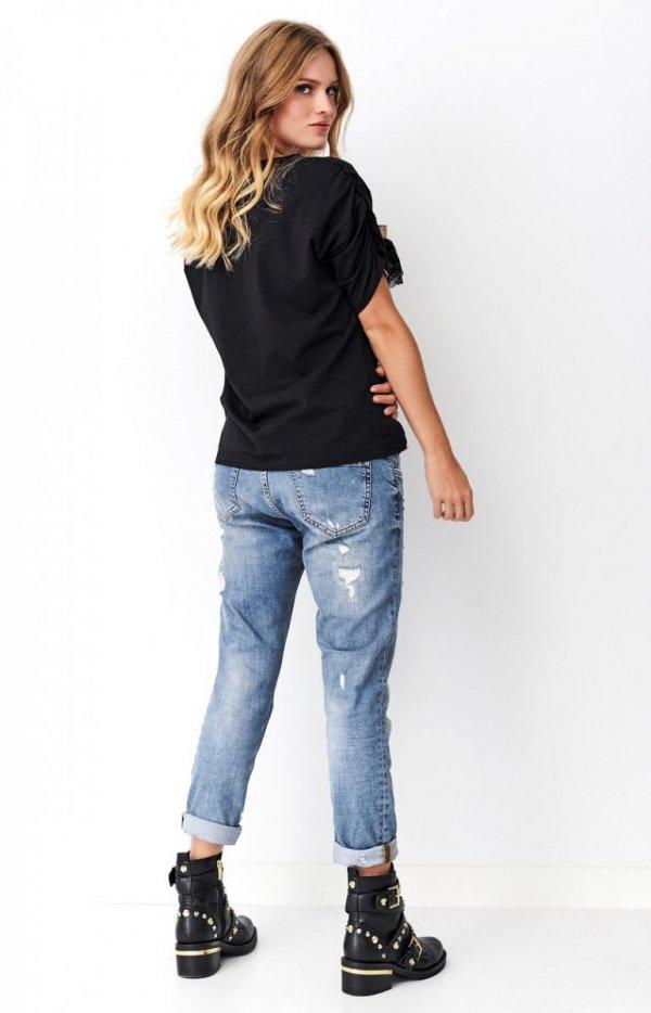 Czarna bluzka z bufkami Numinou NU264 tył