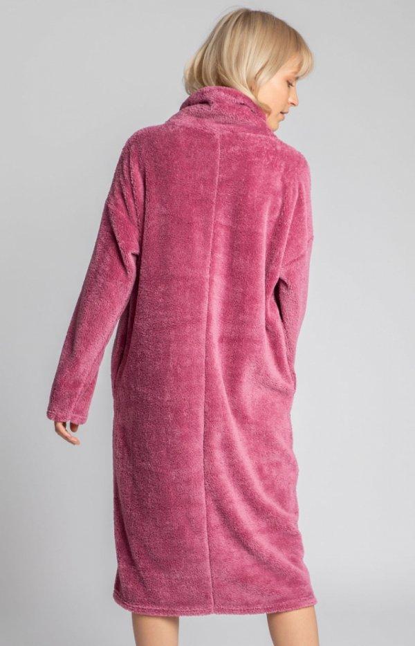 Lalupa ciepła pluszowa sukienka wrzos domowa tył