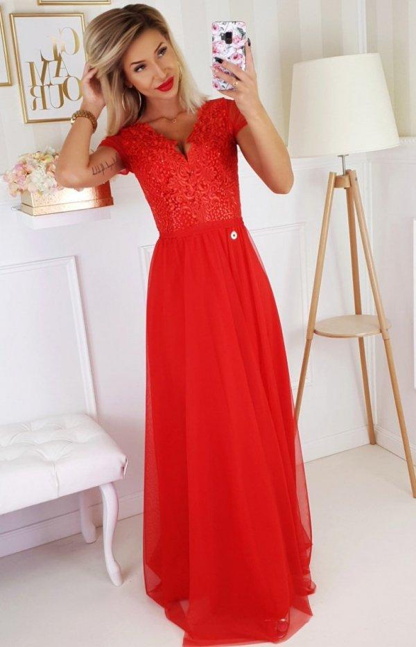 Wieczorowa długa sukienka czerwona 2187-02