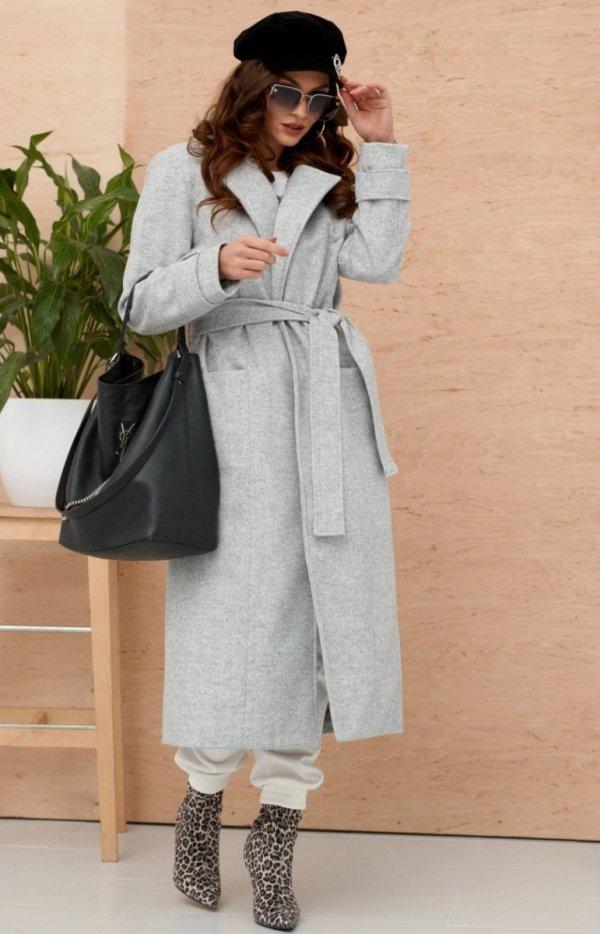 Długi płaszcz z wiązaniem szary 0017-2