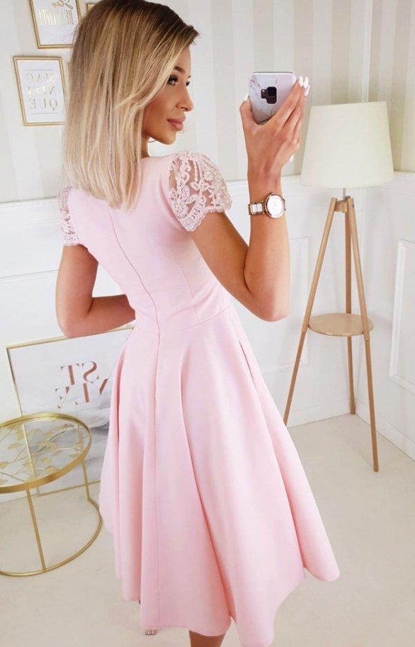 Koktajlowa sukienka midi różowa 2212-12 tył