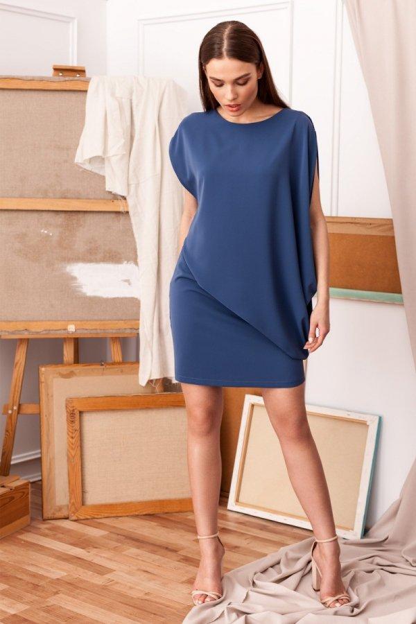Elegancka sukienka mini warstwowa niebieska S262-1