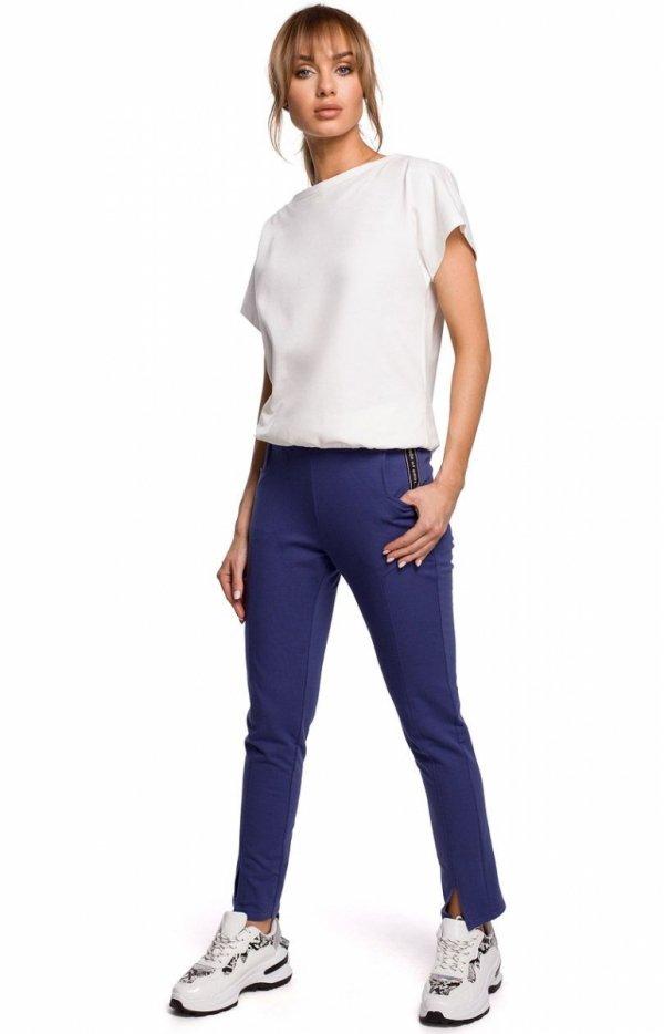 Dresowe spodnie z rozporkami indygo M493-1