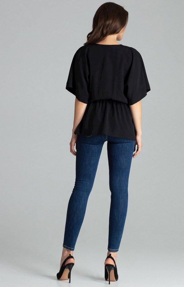 Oversizowa bluzka czarna L063 tył