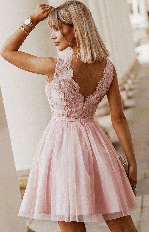 Rozkloszowana sukienka z koronką różowa Bicotone 2206-12 tył