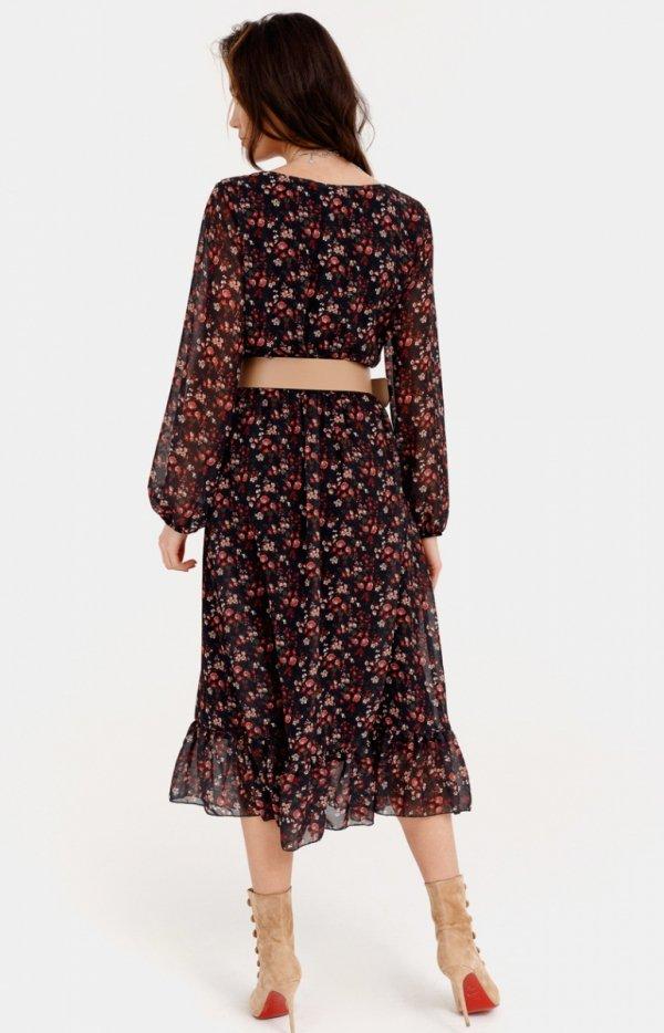 Sukienka midi z falbaną w kwiaty 0241/R13 tył