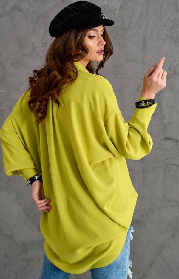 Oversizowa koszula damska 0107 limonka tył