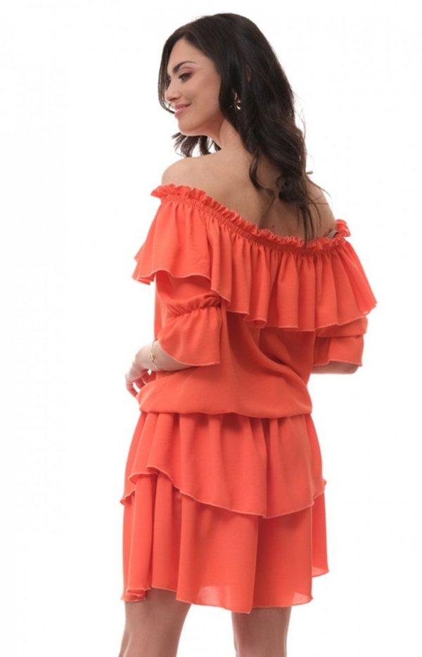 Kobieca sukienka hiszpanka orange OLL205 tył