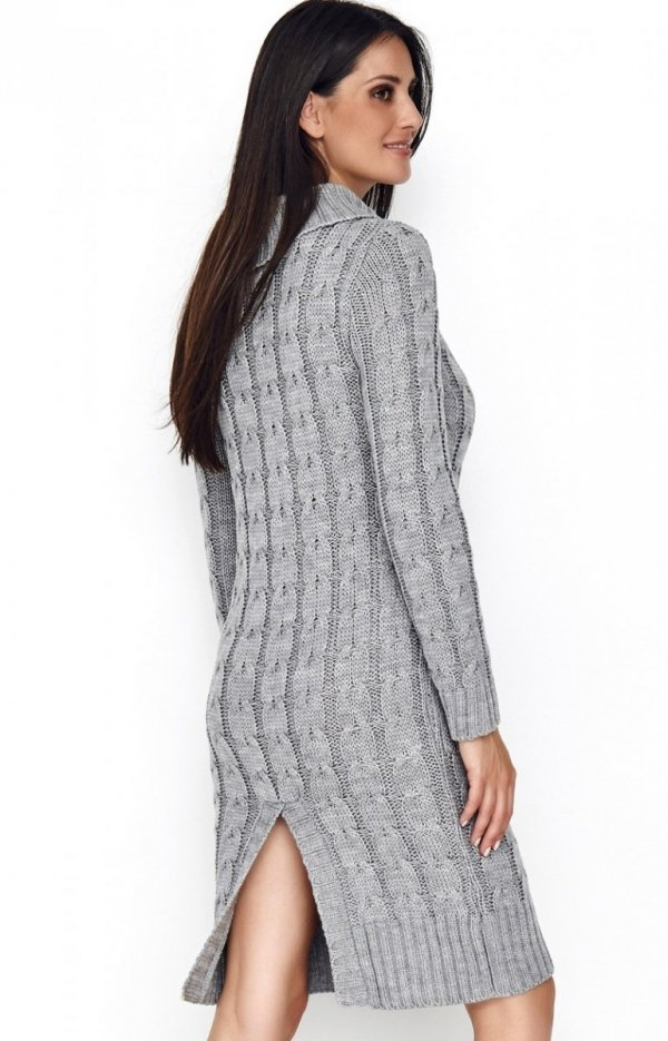 Sweterkowa sukienka z golfem szara S68 tył