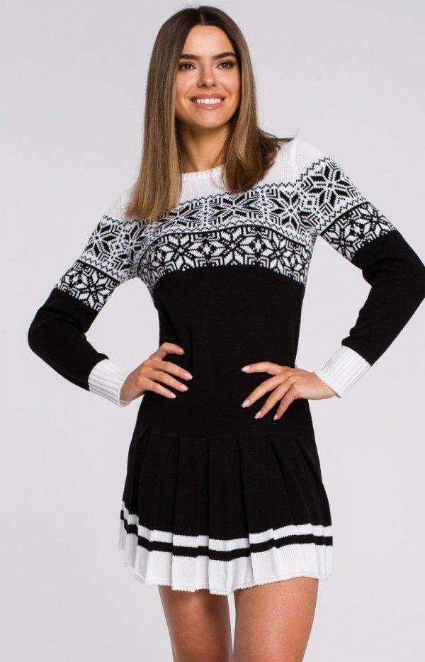 Sweterkowa sukienka święta czarna MXS01