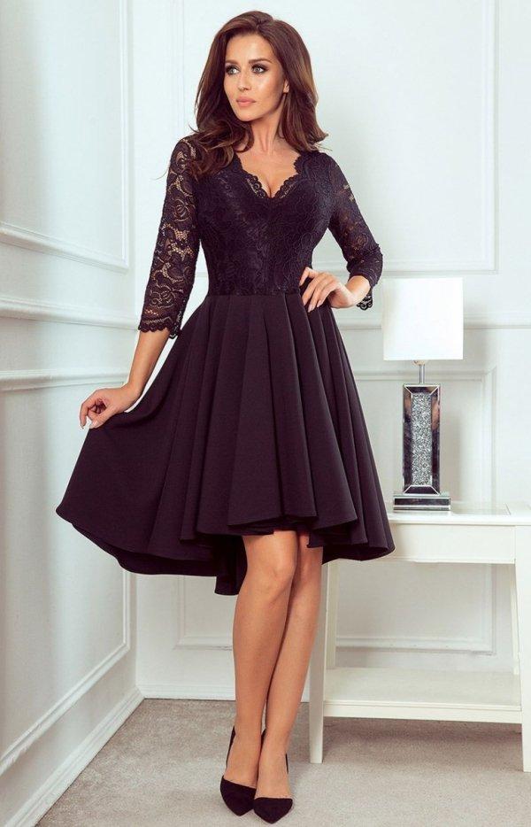 Czarna sukienka z dłuższym tyłem Numoco 210-10-1