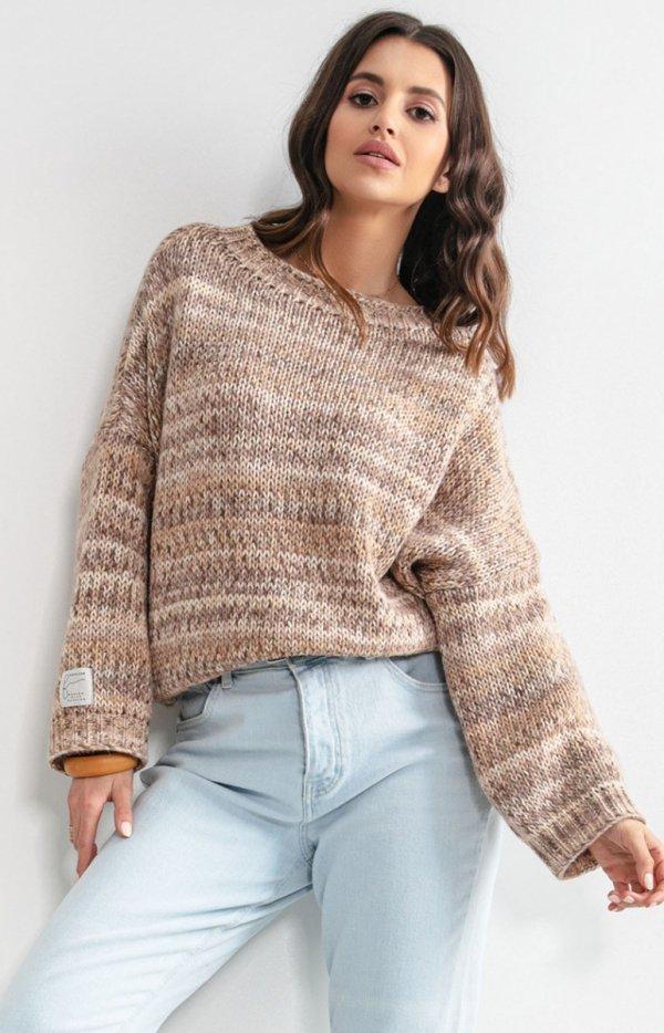 Oversizowy sweter multikolor sand F1163