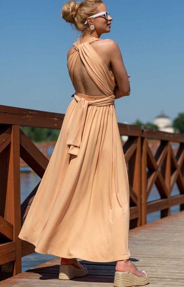Letnia sukienka maxi piaskowa F1252-1