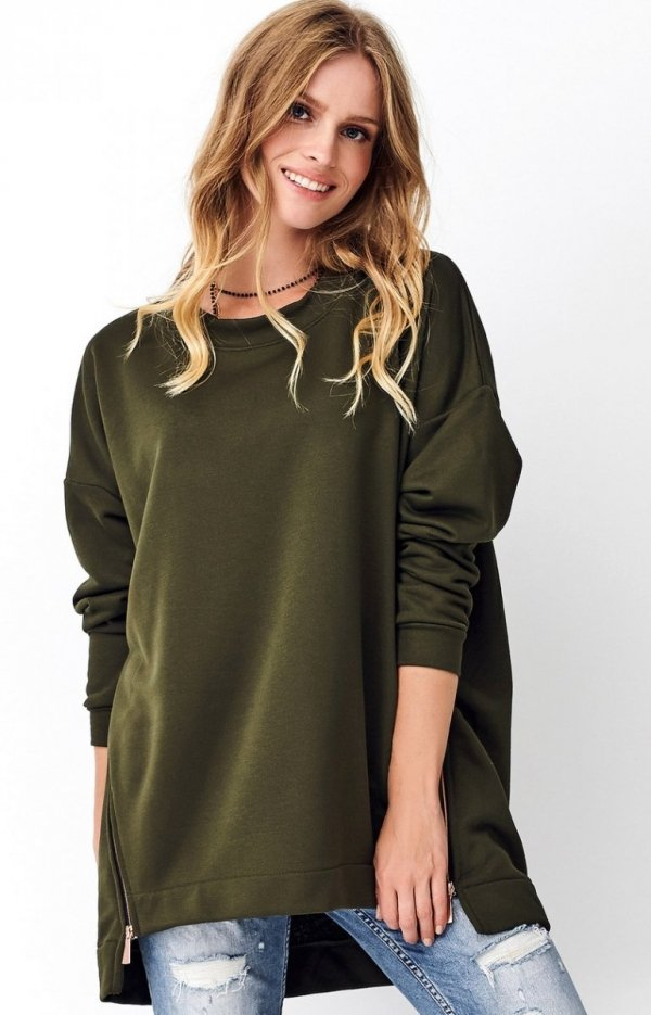 Asymetryczna bluza damska khaki Numinou NU250
