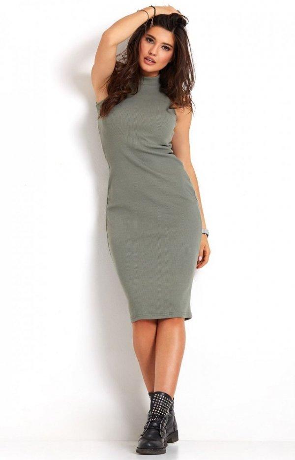 Ołówkowa sukienka khaki Rosa-1