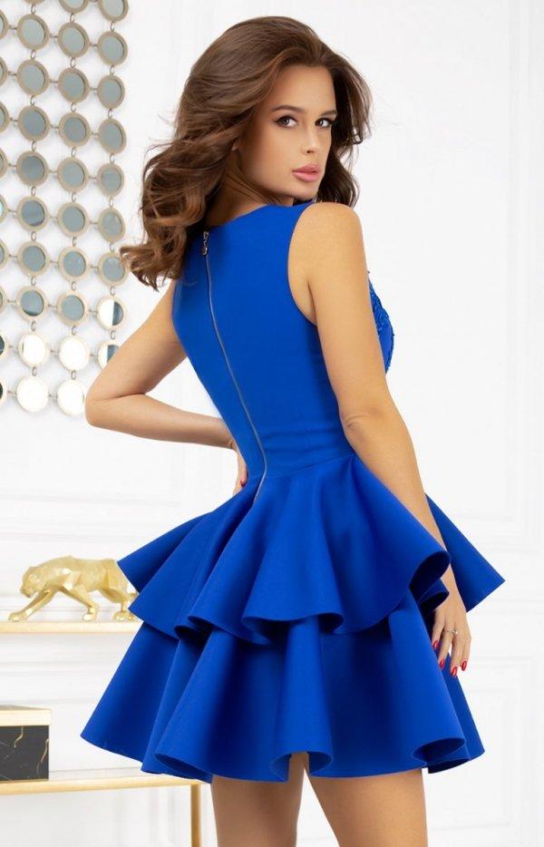 Rozkloszowana sukienka z pianką 2122-05 tył