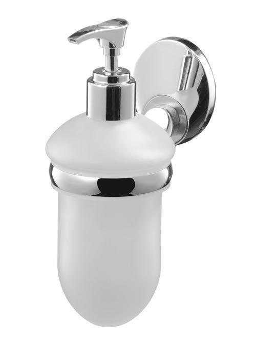 Dozownik mydła w płynie Bisk Emotion 03112 z mrożonego szkła w uchwycie metalowym