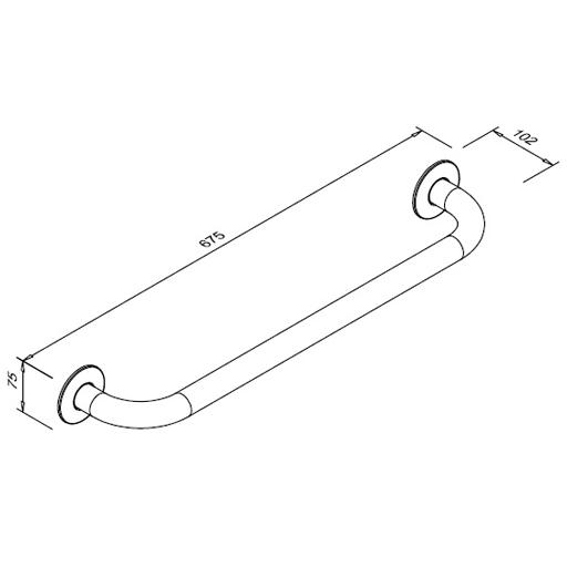 Poręcz prosta dla niepełnosprawnych Faneco S32UP6 SW B 60cm stal węglowa emaliowana