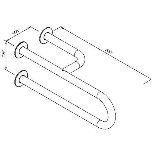 Umywalkowa poręcz łukowa dla niepełnosprawnych Faneco S32UUP5.5 SN M stała 55cm prawa stal nierdzewna