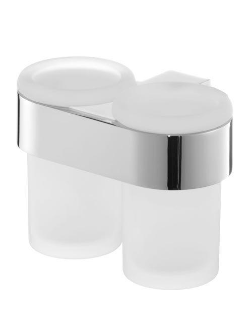 2 szklane kubki Bisk Futura Silver 02988 w chromowanym uchwycie metalowym