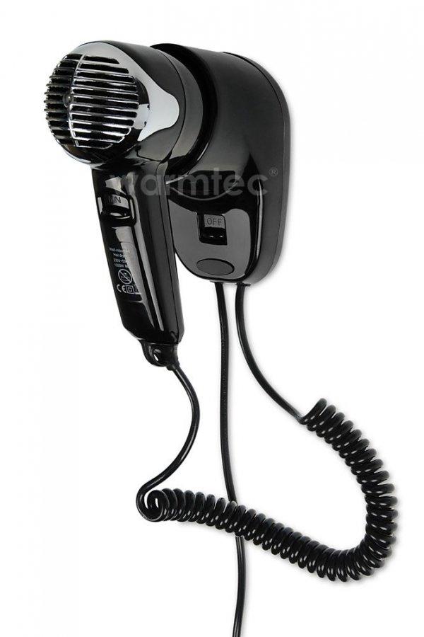 Hotelowa suszarka do włosów Warmtec Prestige Czarna P2 1200W z uchwytem ściennym
