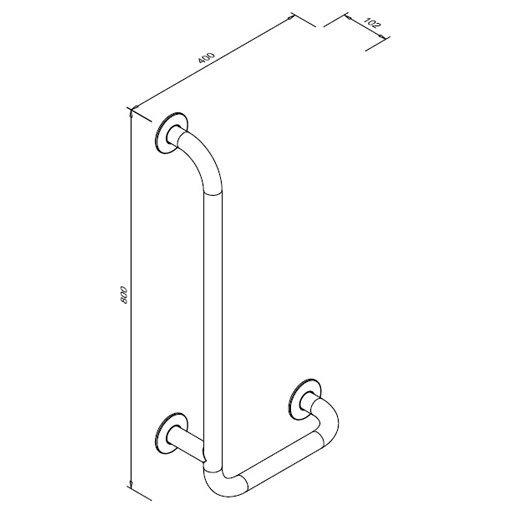 Poręcz kątowa 90° dla niepełnosprawnych Faneco S32UKL8/4 SW B lewa 80x40 cm stal węglowa emaliowana