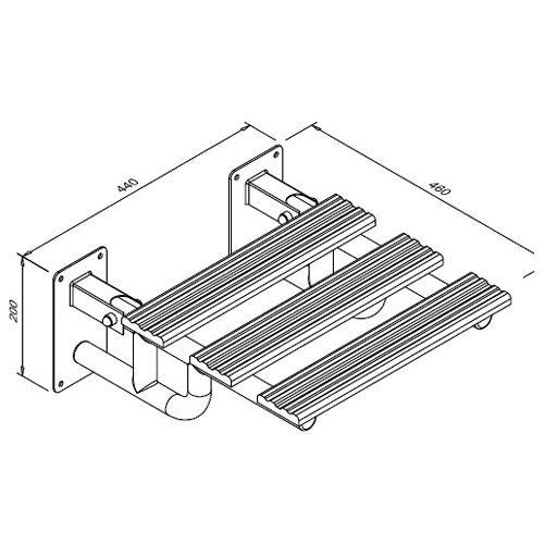 Siedzisko prysznicowe uchylne ze wspornikami dla niepełnosprawnych Faneco SKPU SW B 44x46 cm stal węglowa emaliowana