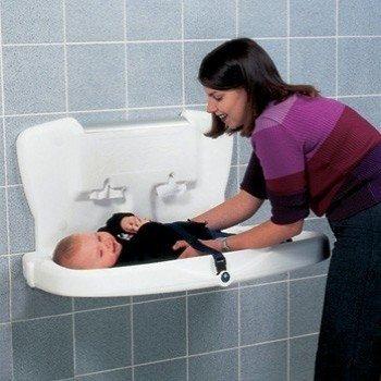 Przewijak ścienny - stanowisko do przewijania dzieci i niemowląt Faneco VBCTH z polietylenu, poziome, składane